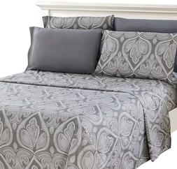 Egyptian Comfort 6 Piece Bed Sheet Set - Paisley Printed Dee