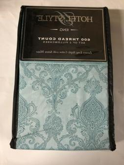 Hotel Style 600 Thread Count Set of 2 Pillowcase Set, Teal P