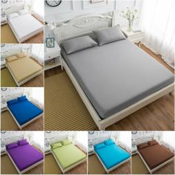 Hotel Collection Bed Fitted Sheet Soft Microfiber White Gray