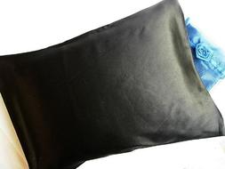 Feeling Pampered Black 100% Silk Pillowcase Travel Size 12x1