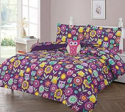 Full Size 8 Pieces Reversible Printed Owl Microfiber Kids Be