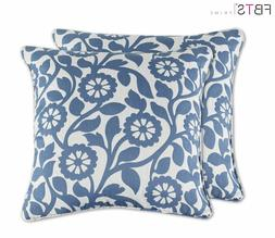PACK of 2 Throw Pillow Covers Case - 18x18 Inches Blue Flowe
