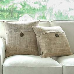 Phantoscope Set of 2 Button Beige Linen Decorative Throw Pil