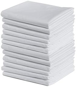 Polycotton Bulk Pack of 12 Standard Size Pillowcases, White,