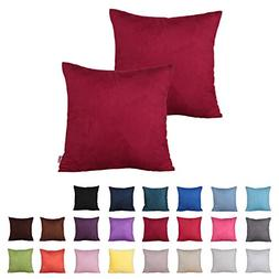 Queenie® - 2 Pcs Solid Color Faux Suede Decorative Pillowca