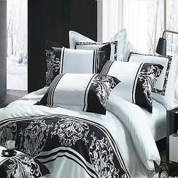 Quilt Cover Set of 4 Cotton Embroidered Quilt Cover Sheet &
