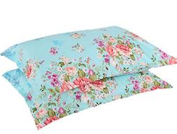 A Pair of Queen Size Cotton Pillow Cover / Flowers Design Pi