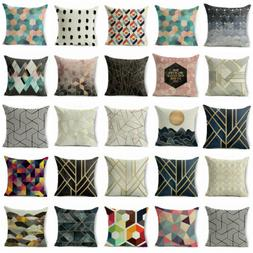 Abstract Geometric Linen Cushion Cover Throw 18inch Pillow C