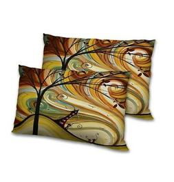 Abstract Printed Decorative Pillow Cover Set Satin Rectangul