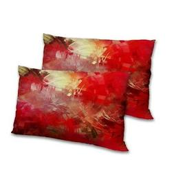 Abstract Printed Pillow Cover Set Satin Decorative Rectangul