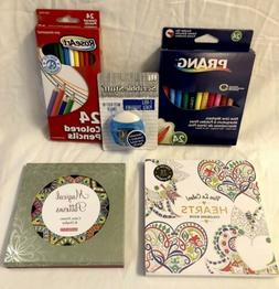 Adult Coloring Book Set With Pencils And Markers! Prang/Vive