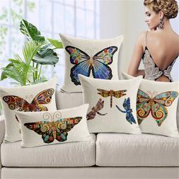 American Colourful Butterfly Cushion Covers Cotton Linen Thr