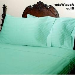 Aqua Striped Extra Deep Pkt Sheet set 1000TC Egyptian Cotton