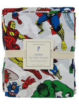 Pottery Barn Avengers Heroes Sheet Set Full Sized Organic Ma