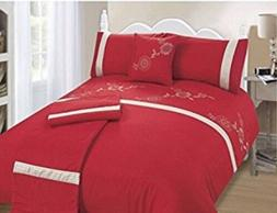 Bali Red, 5 Piece Bed In A Bag Duvet Cover Set, Double Size,