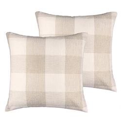 4TH Emotion Farmhouse Decoration Beige White Checkers Plaids