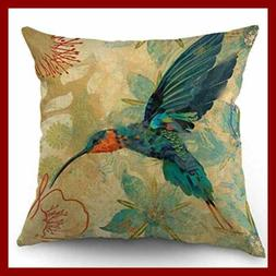 bird throw pillow case blue orange hummingbird