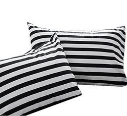 Wellboo Black and White Striped Pillow Cases Standard Size C