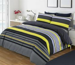 Black Grey Silver Yellow Stripe Duvet Cover with Pillow Case