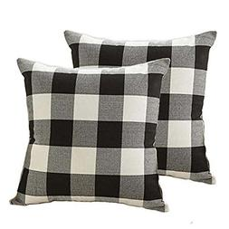 4TH Emotion 20 x 20 Inch Black and White Buffalo Check Plaid