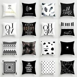 Black White Polyester Pillow Case Sofa Car Waist Throw Cushi