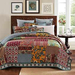 DaDa Bedding Bohemian Dark Elegance Quilted Patchwork Square