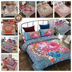 Bohemian Floral 4 Piece Bedding Set Duvet Cover with Pillow