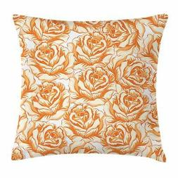 Burnt Orange Throw Pillow Cases Cushion Covers by Ambesonne