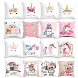 Cartoon Unicorn & Owl Print Sofa Cushion Cover Throw Pillow