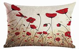 Charming Oil painting beautiful Red poppy Throw Lumbar Pillo