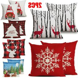Christmas 2PCS Linen Cushion Cover Striped Welcome Throw Pil