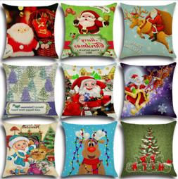 Christmas Cotton Linen Pillow Case Sofa Waist Throw Cushion