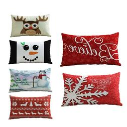 Christmas Rectangle Cotton Pillow Case Throw Cushion Covers