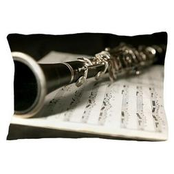 CafePress Clarinet And Music Case Laptop Skin Pillow Case