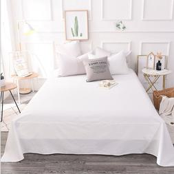 Clearance Solid White Brushed Cotton Blend Flat Sheet Queen
