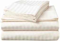 Complete Bedding Set Ivory Stripe Choose Sizes 1000 Thread C