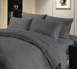 COMPLETE BEDDING SHEET SET/FITTED 1000 TC GREY SOLID EGYPTIA