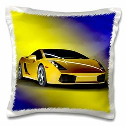 3dRose Cool sport car. Yellow. - Pillow Case, 16 by 16-inch