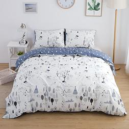 ClothKnow Cotton Duvet Cover Sets Queen White Forest Pattern