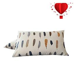 BuLuTu Cotton Feather Print Bed Pillowcases Set of 2 Queen W
