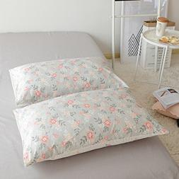 BuLuTu Cotton Vintage Floral Print Bed Pillowcases Set of 2