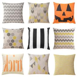 Cotton Linen Cushion Covers Geometric Throw Pillow Cases Bed