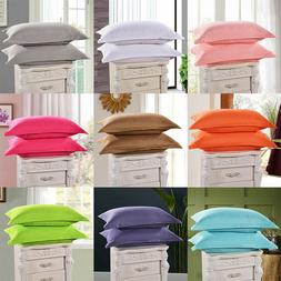 Cotton Solid Color Standard Queen Size Bedding Pillow Covers