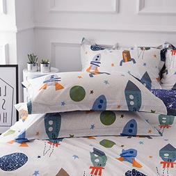 BuLuTu Cotton Space Rocket Print Bed Pillowcases Set of 2 Qu