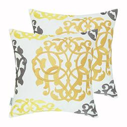 Pack of 2 CaliTime Cotton Throw Pillow Cases Covers for Bed