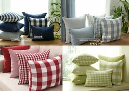 Country Check Plaid Gingham Stripe Blue Green Red Cushion Co