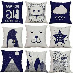Cover Soft Cotton Linen Fabric Pillowcase Kids Room Sofa Dec