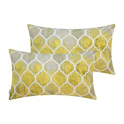 CaliTime Pack of 2 Cozy Bolster Pillow Cases Covers Couch Be