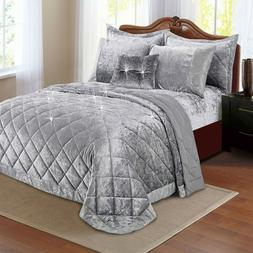 Crushed Velvet Throw Luxury Bedspread King Size Quilt 2 Pill