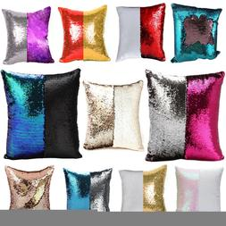 "Cushion Cover 16"" 40cm Square Sequin Case Glitter Kid Pillow"